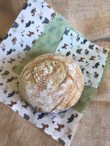giant bread wrap, dog, dogs, Beeswax wraps, beeswax food wrap, food wrap, reusable food wrap, best beeswax wrap, beeswax wrap uk, beeswax wrap Cornwall, handmade beeswax wrap, wax food wraps, eco wrap, food wrap, food packaging