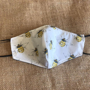 Face Mask. White Bee, Reusable, Reversible