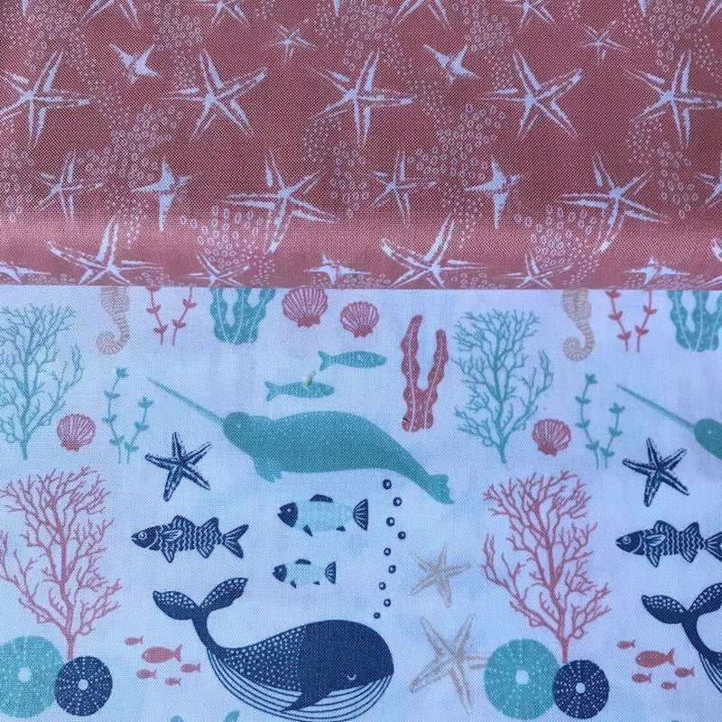 Face Mask Reversible Whales And Starfish Design