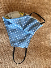 Load image into Gallery viewer, White Bee & Blue Dots , Reusable,Reversible Face Mask