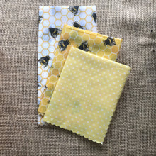 Load image into Gallery viewer, bees, bee design, bee pattern, bee products, Beeswax wraps, beeswax food wrap, food wrap, reusable food wrap, best beeswax wrap, beeswax wrap uk, beeswax wrap Cornwall, handmade beeswax wrap, wax food wraps, eco wrap, food wrap, food packaging