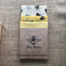 Load image into Gallery viewer, bee design food wraps, bees, bee, Beeswax wraps, beeswax food wrap, food wrap, reusable food wrap, best beeswax wrap, beeswax wrap uk, beeswax wrap Cornwall, handmade beeswax wrap, wax food wraps, eco wrap, food wrap, food packaging