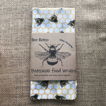 Load image into Gallery viewer, bee, bees, bee design, bee products, Beeswax wraps, beeswax food wrap, food wrap, reusable food wrap, best beeswax wrap, beeswax wrap uk, beeswax wrap Cornwall, handmade beeswax wrap, wax food wraps, eco wrap, food wrap, food packaging
