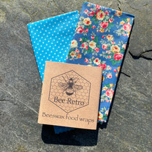 Load image into Gallery viewer, Beeswax wraps, beeswax food wrap, food wrap, reusable food wrap, best beeswax wrap, beeswax wrap uk, beeswax wrap Cornwall, handmade beeswax wrap, wax food wraps, eco wrap, food wrap, food packaging