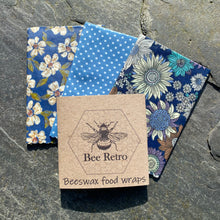 Load image into Gallery viewer, Blue Sunflower- Eco Friendly Beeswax Wrap