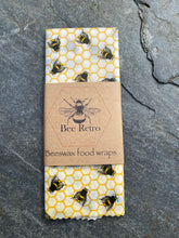 Load image into Gallery viewer, extra large food wrap, bee food wrap, bee, bees, Beeswax wraps, beeswax food wrap, food wrap, reusable food wrap, best beeswax wrap, beeswax wrap uk, beeswax wrap Cornwall, handmade beeswax wrap, wax food wraps, eco wrap, food wrap, food packaging