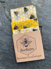 Load image into Gallery viewer, bee, bees, bee products, bee designs, Beeswax wraps, beeswax food wrap, food wrap, reusable food wrap, best beeswax wrap, beeswax wrap uk, beeswax wrap Cornwall, handmade beeswax wrap, wax food wraps, eco wrap, food wrap, food packaging