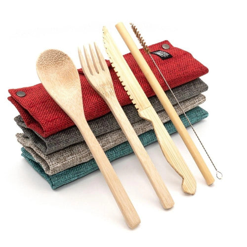 bamboo cutlery set, fabric wrap carrying pouch, knife ,fork ,spoon, straw,straw cleaner. jungle Culture, eco friendly products. plastic free, sustainable