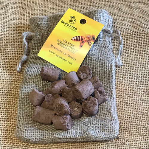 Hand made in Dorset, Beebombs are a mix of 18 British wildflower seeds, fine, sifted soil and locally sourced clay. Our seeds are native species and designated by the Royal Horticultural Society as