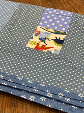 Load image into Gallery viewer, Childs quilt, cotton and wool, hand made.lap quilt, dinosaur, blue