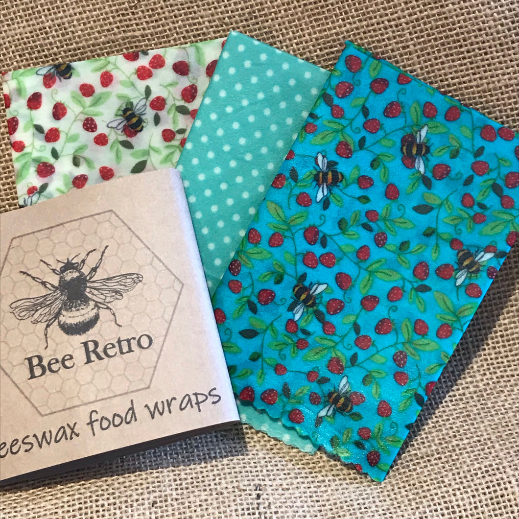 Strawberry Bee, Eco Friendly Beeswax Wraps
