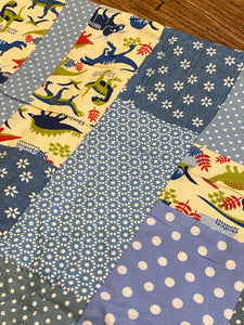 Childs quilt, cotton and wool, hand made.lap quilt, dinosaur, blue