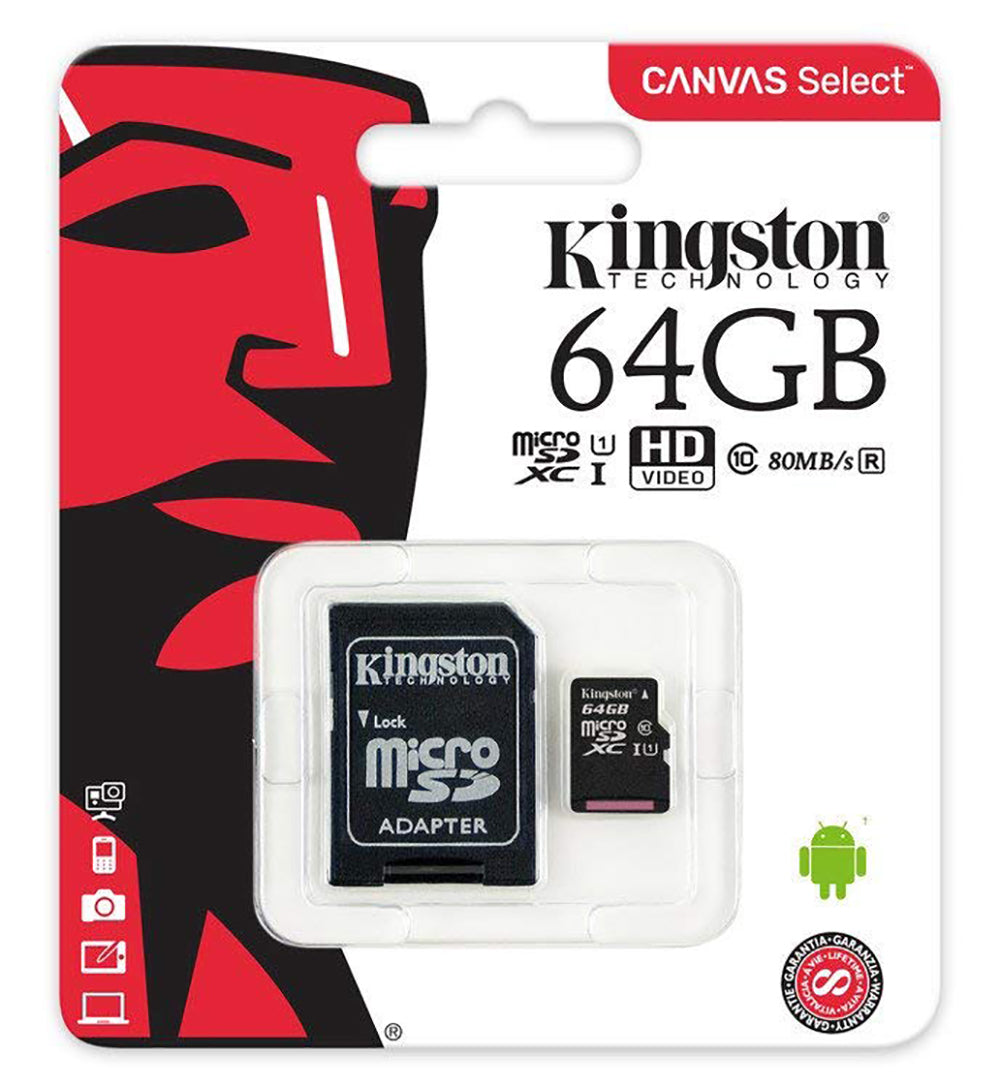 Kingston 64 Gb Micro SD muistikortti SD-kortti adapterilla
