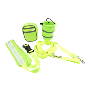 Dog Lead For Running - Padded Waist Belt With Reflective Strip and Elastic Dog Lead