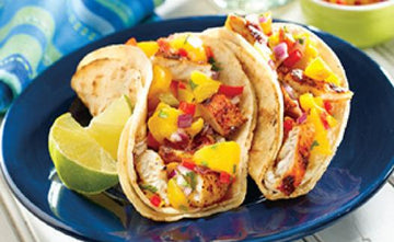 Grilled Fish Tacos with Peach Salsa