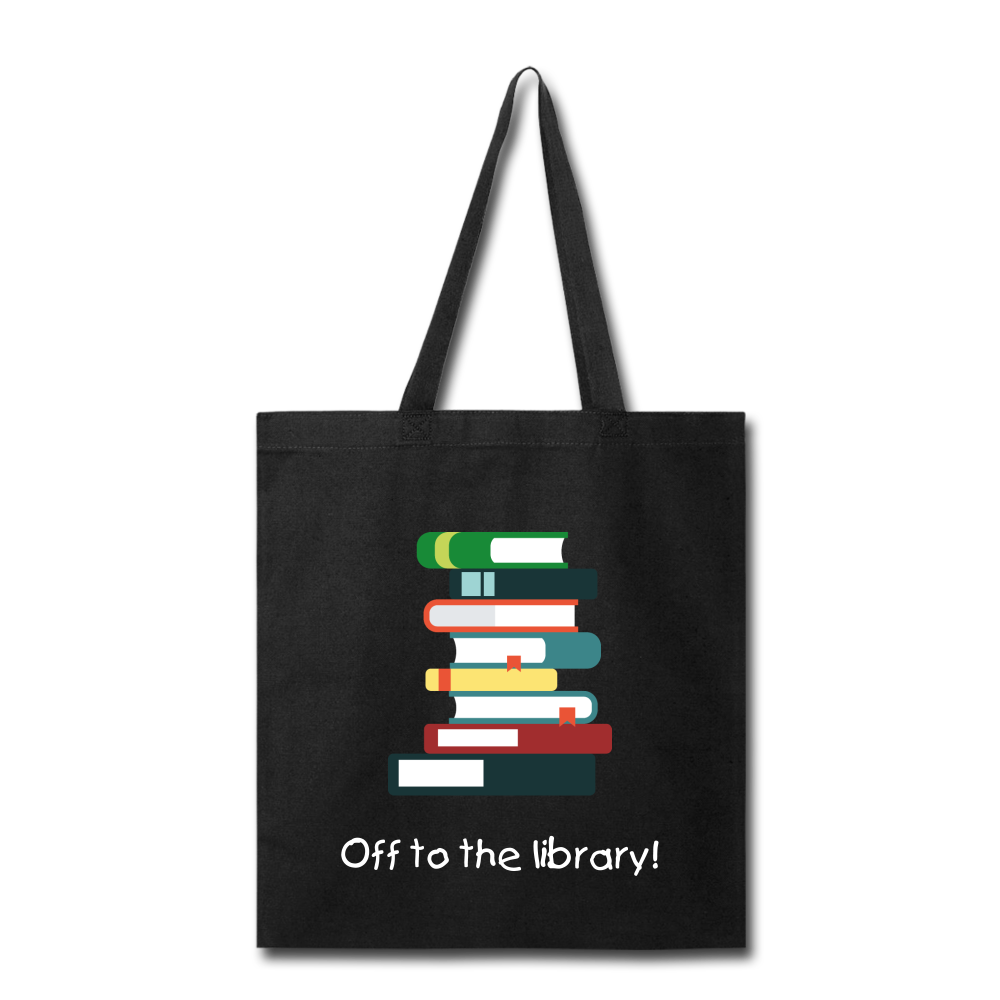 Off to the Library! Tote Bag - black