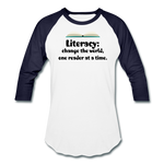 Women's Literacy Shirt (Baseball style) - white/navy