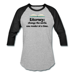 Women's Literacy Shirt (Baseball style) - heather gray/black