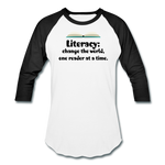 Women's Literacy Shirt (Baseball style) - white/black