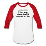 Women's Literacy Shirt (Baseball style) - white/red
