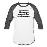 Women's Literacy Shirt (Baseball style) - white/charcoal