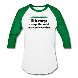 Women's Literacy Shirt (Baseball style) - white/kelly green