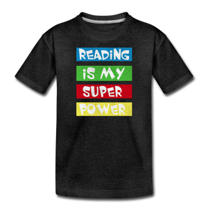 Reading Is My Super Power - charcoal gray