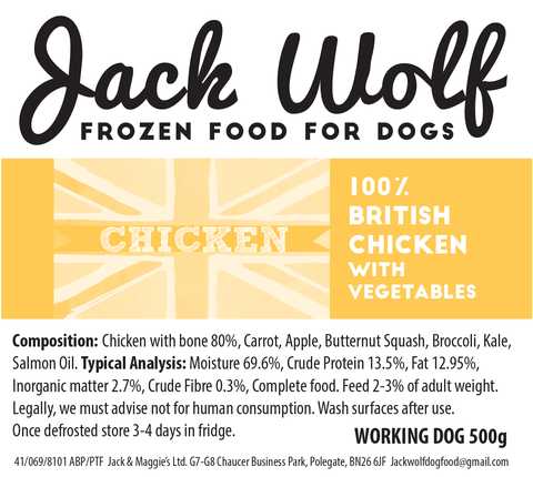 500g Jack Wolf - Working Dog - Chicken