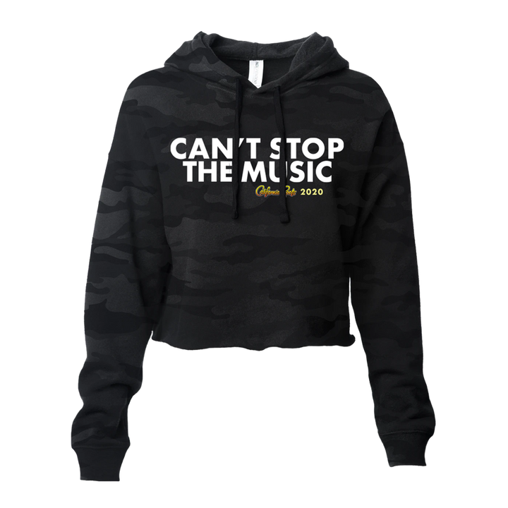 'Can't Stop The Music' Pullover Crop Hoodie (Dark Camo) - California Roots Brand