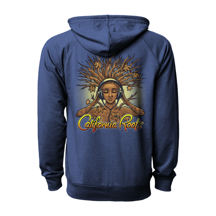 'Roots Goddess' Zip Up Hoodie (Indigo) - California Roots Brand