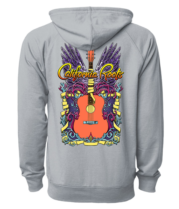 'Guitar Wings' Zip Up Hoodie (Grey) - California Roots Brand