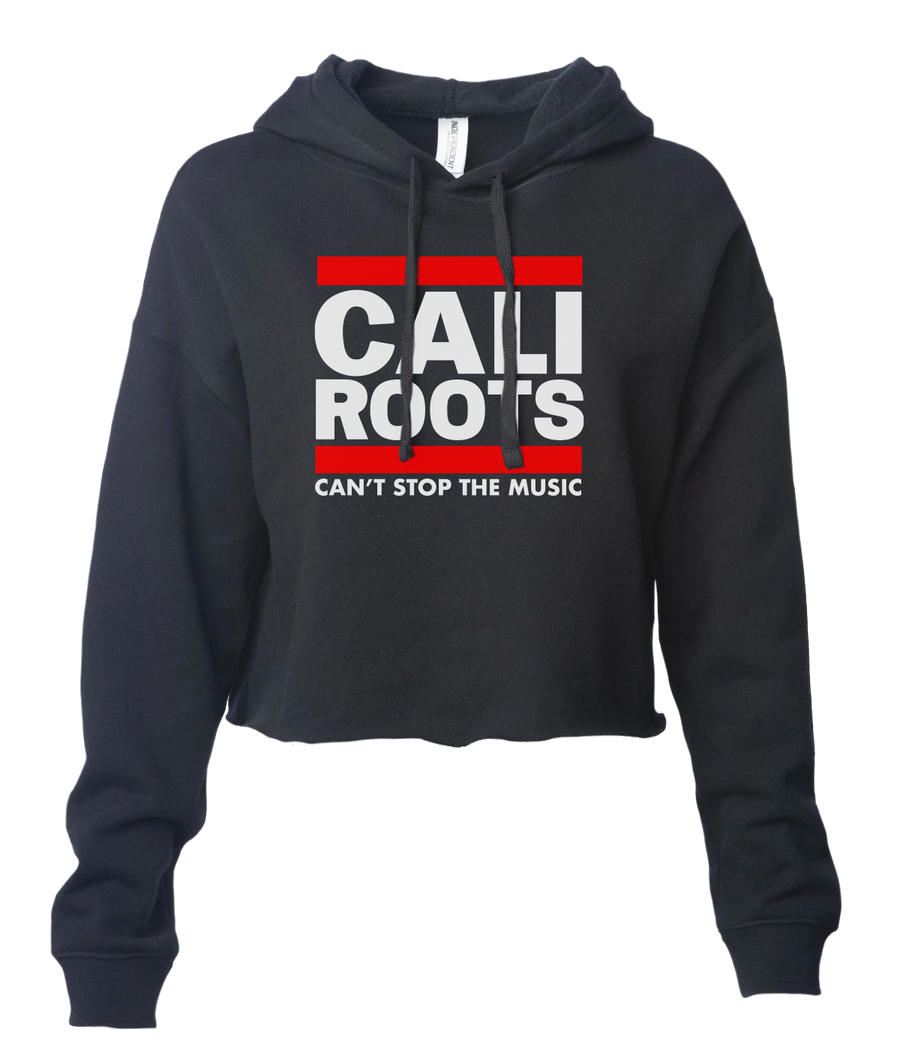 'Can't Stop The Music' Stacked Pullover Crop Hoodie (Black) - California Roots Brand