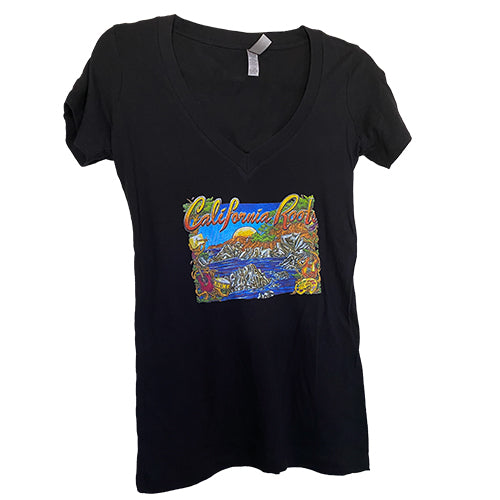 Cali Roots Fest Coastal Music Collage 2014 - Womens V Neck