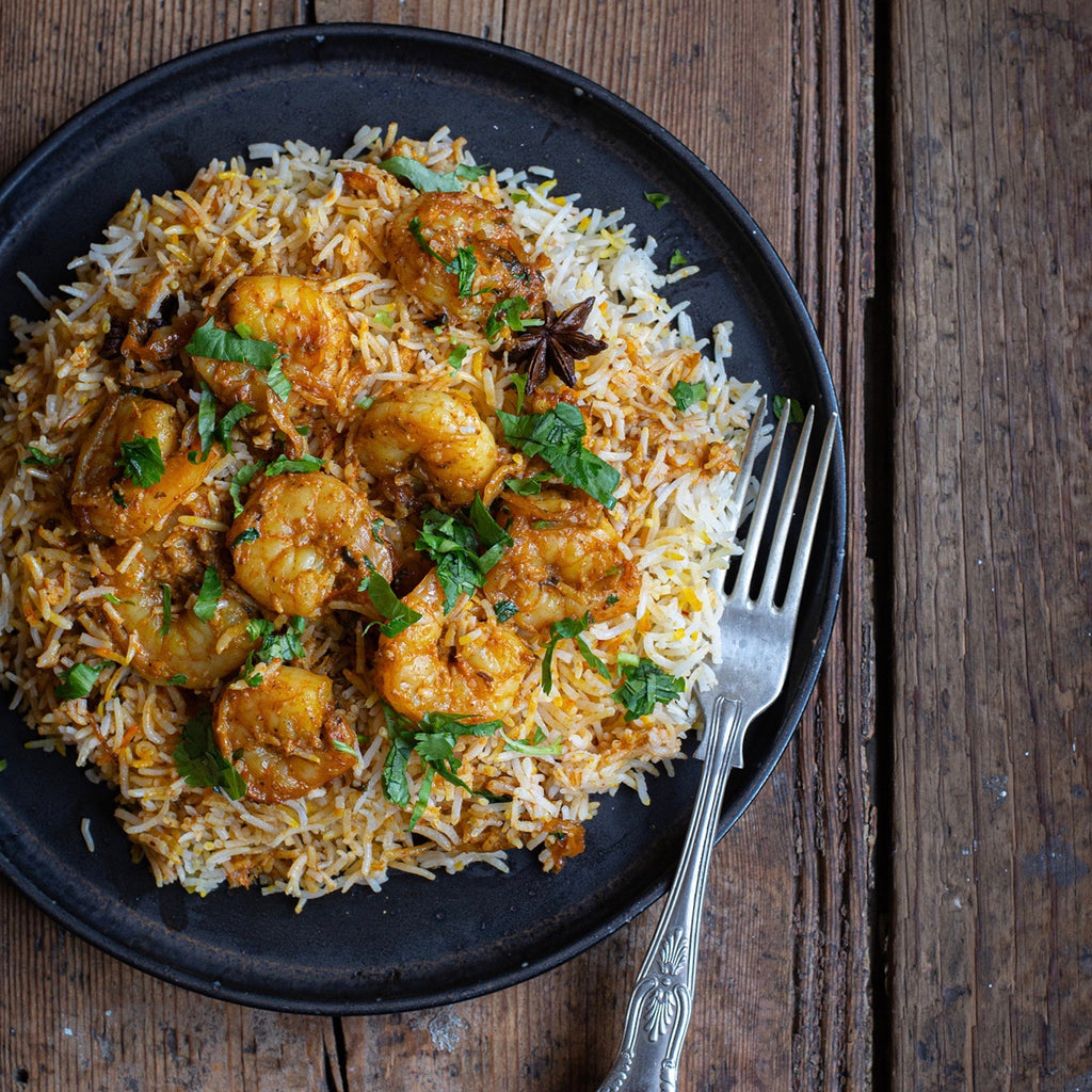 Shrimp Biryani - Hyderabadi Dum Biryani (Contains Dairy)