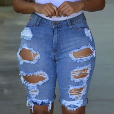 Casual Hollow-out Denim Shorts