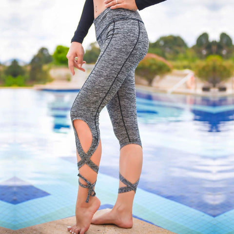 Grey Criscross Workout Leggings