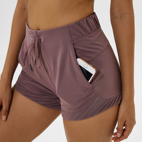 Elastic Waist Sport Shorts with Pocket