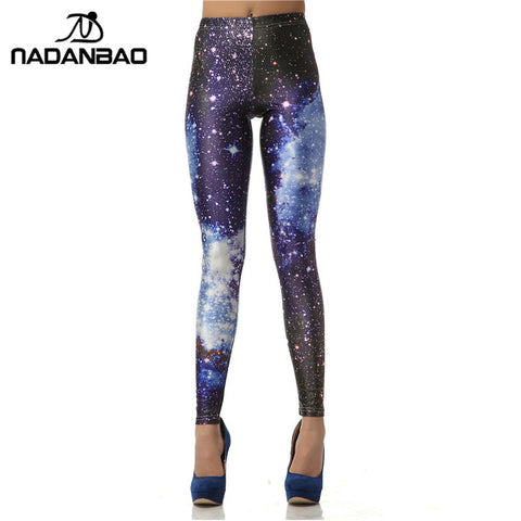 3D Digital Blue Galaxy Leggings