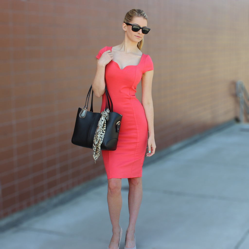 Coral Cap Sleeve Dress - Move Over Princess