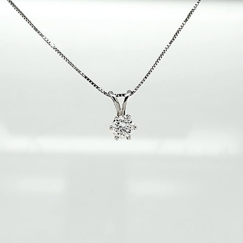 14K White Gold Diamond Pendant .29ct I1 GH