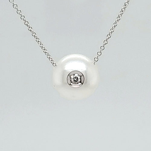 14K White Gold Diamond in a Pearl Necklace