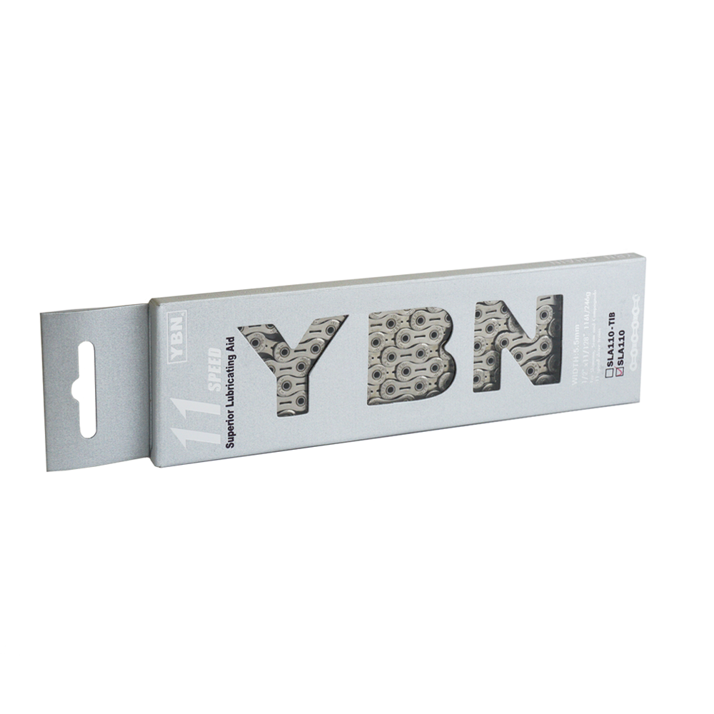 YBN 11sp Silver Chain SLA110 (Out of stock until Feb. 20th, will substitute same chain without cutouts if ordered)