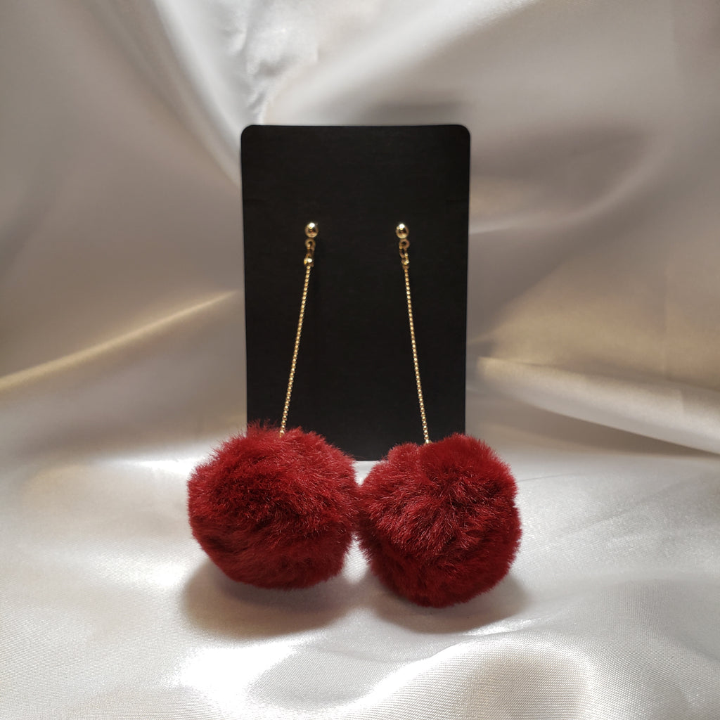 Maroon pom pom drop earrings