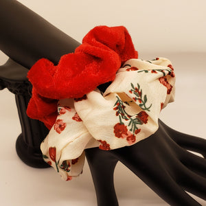 Nude rose and red velvet scrunchies