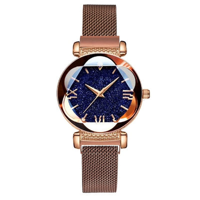 Luxury Rose Gold Women Watches Fashion Diamond Ladies Starry Sky Magnet Watch Waterproof Female Wristwatch For Gift Clock 2019