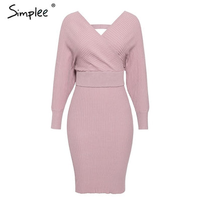v-neck women knitted skirt suits