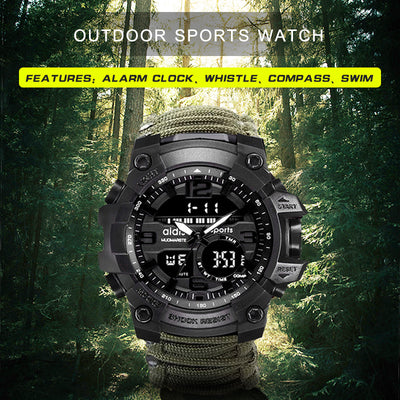 LED Compass Waterproof Shock Sports Watch