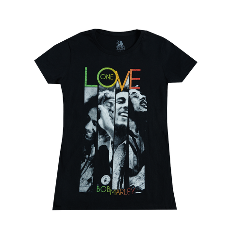 One Love Stripes Black Ladies T-Shirt