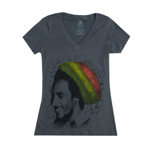 Rasta Ladies Grey V-Neck Shirt
