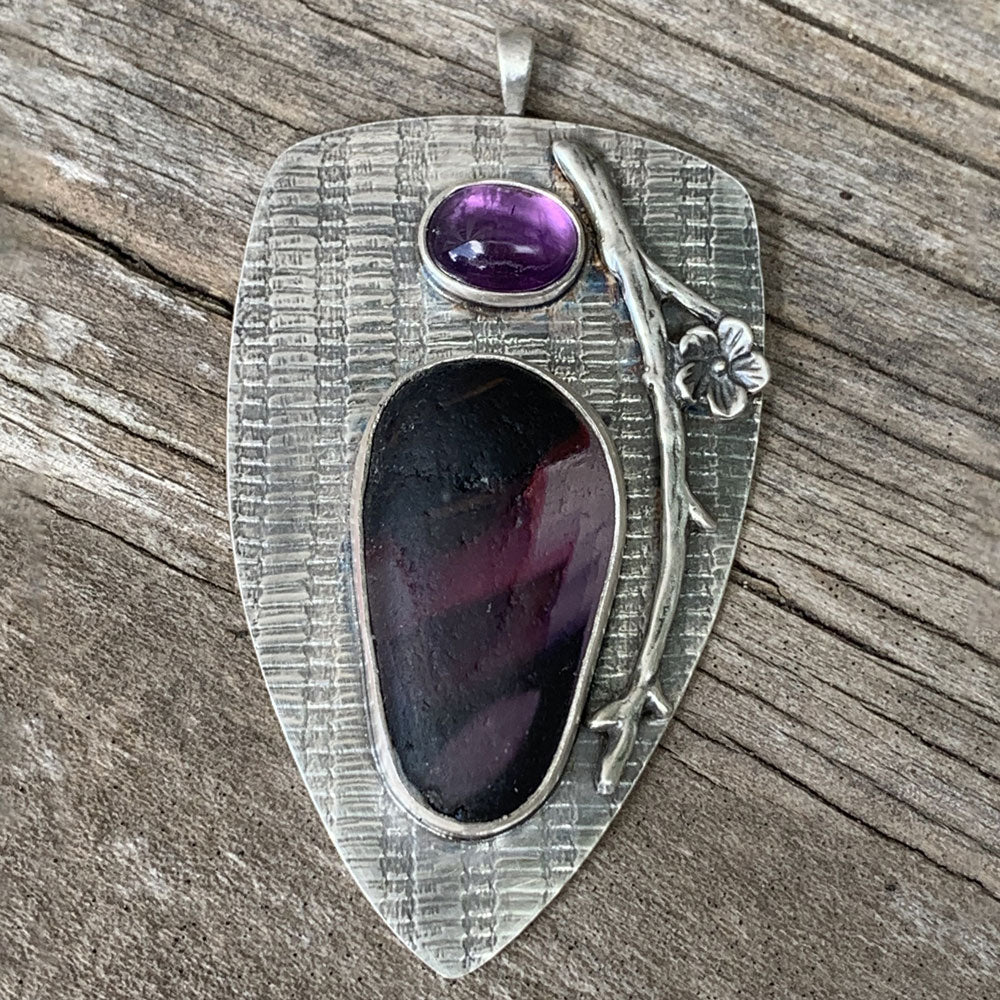 Shades of Purple sea glass pendant necklace
